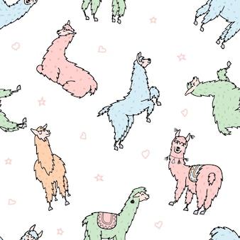 Padrão sem emenda de vetor de lama fofo. lama de bebê isolado dos desenhos animados. peru animal guanaco, alpaca, vicunha