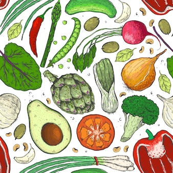 Padrão sem emenda de vetor de legumes em um esboço.