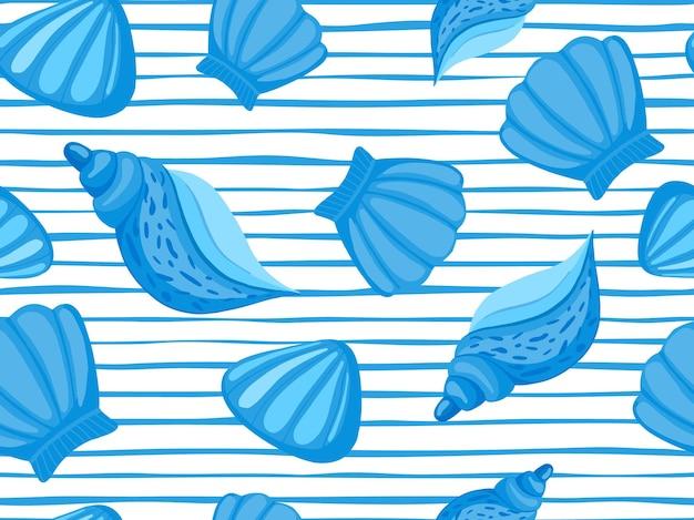 Padrão sem emenda de vetor de listra de conchas decorativas. papel de parede marinho abstrato. cenário subaquático.