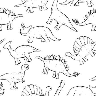 Padrão sem emenda de vetor de mão desenhada doodle dinosaura.