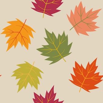 Padrão sem emenda de vetor de outono padrão com folhas de plátano estilo simples