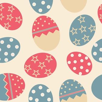 Padrão sem emenda de vetor de páscoa com fundo de ovos