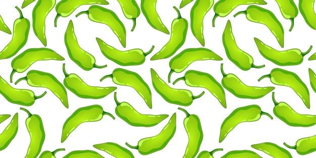 Padrão sem emenda de vetor de pimenta verde. vegetais picantes do pimentão mexicano. textura de colorau quente.