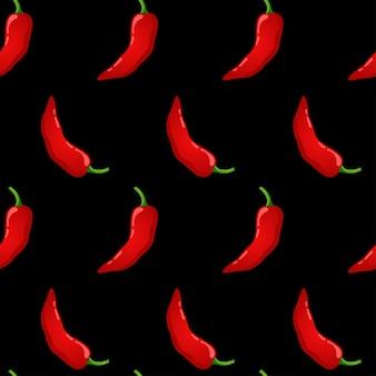 Padrão sem emenda de vetor de pimenta vermelha. vegetais picantes do pimentão mexicano. textura de colorau quente.