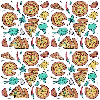 Padrão sem emenda de vetor de pizza colorida desenhada de mão