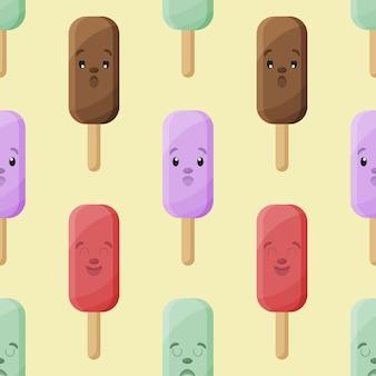 Padrão sem emenda de vetor de sorvete de ilustração vetorial