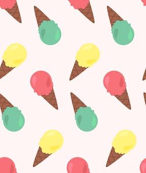 Padrão sem emenda de vetor de sorvetes com três temas de cores