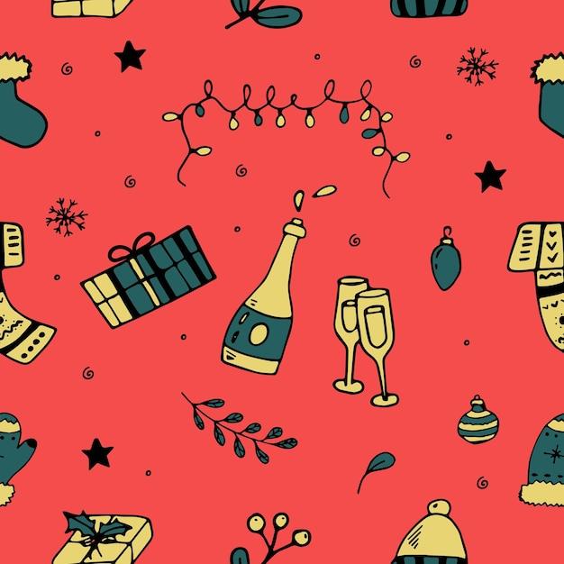 Padrão sem emenda de vetor de temporada de natal. elementos de natal desenhados à mão