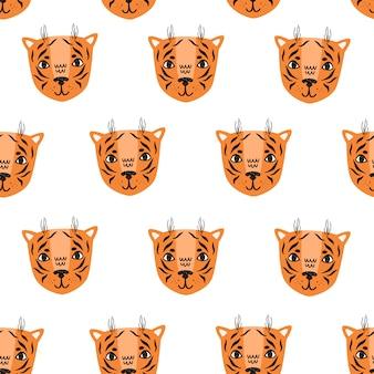 Padrão sem emenda de vetor de tigre estilo escandinavo