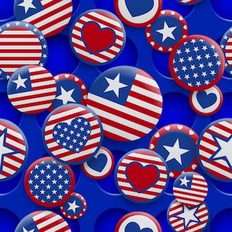 Padrão sem emenda de vetor de vários símbolos de eua nas cores vermelhas e azuis em fundo com furos. dia da independência dos estados unidos da américa