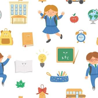 Padrão sem emenda de vetor de volta à escola com crianças fofas e objetos de sala de aula