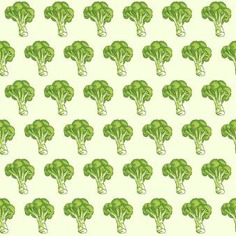 Padrão sem emenda de vetor desenhado à mão de brócolis, design de padrão sem emenda de brócolis