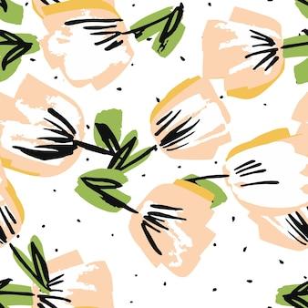 Padrão sem emenda de vetor desenhado de flor branca e rosa. textura de papel de primavera de peônia. molde decorativo da caneta de feltro. lotus summer design.