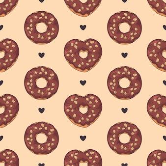 Padrão sem emenda de vetor. donuts vitrificados decorados com coberturas, chocolate, nozes.