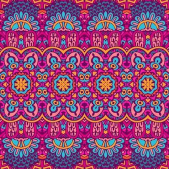 Padrão sem emenda de vetor doodle desenhado à mão colorido étnico tribal geométrico psicodélico impressão mexicana