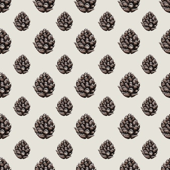 Padrão sem emenda de vetor em aquarela com cones de floresta. ilustração botânica.