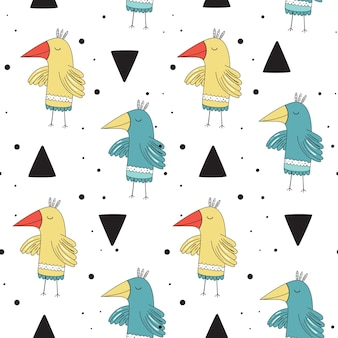 Padrão sem emenda de vetor em estilo escandinavo. aves adoráveis.