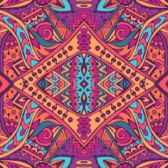 Padrão sem emenda de vetor flor colorido étnico tribal geométrico psicodélico impressão mexicana