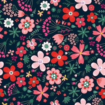 Padrão sem emenda de vetor floral incrível de flores