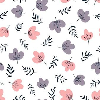 Padrão sem emenda de vetor floral minimalista em estilo simples dos desenhos animados desenhados à mão.