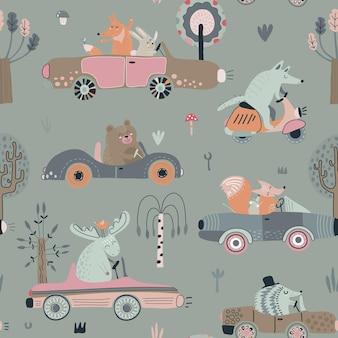 Padrão sem emenda de vetor fofo com animais engraçados da floresta em carros