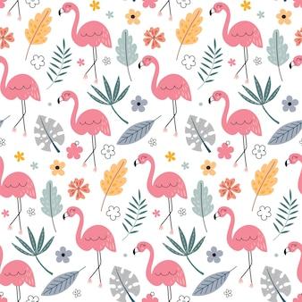 Padrão sem emenda de vetor fofo com flamingo e plantas tropicais
