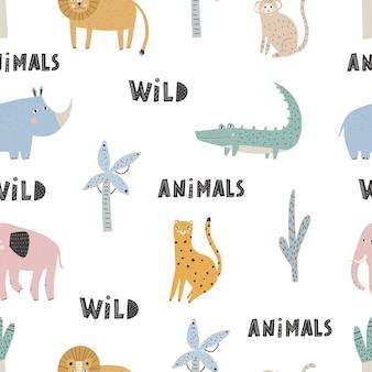 Padrão sem emenda de vetor gira com animais de safari. padrão sem emenda do vetor. papel digital