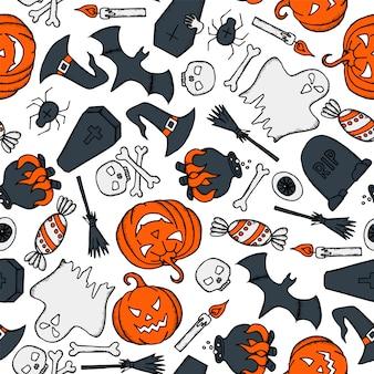 Padrão sem emenda de vetor halloween com abóbora, fantasma, chapéu de bruxa, vassoura, caixão e crânio em fundo branco.