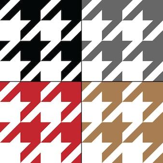 Padrão sem emenda de vetor houndstooth definir coleção de tecido xadrez tradicional escocês em branco marrom.