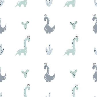Padrão sem emenda de vetor infantil com dinossauro desenhado de mão em estilo escandinavo para têxteis de menino.