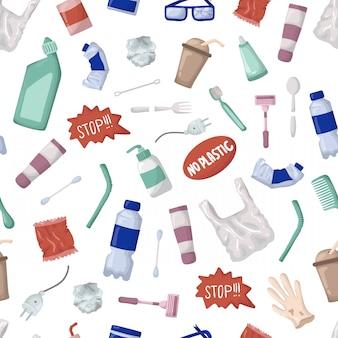Padrão sem emenda de vetor - lixo plástico ou resíduos, bootles
