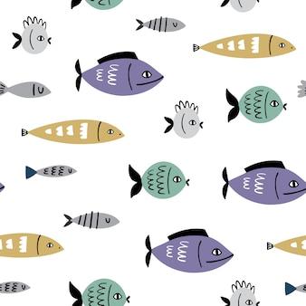 Padrão sem emenda de vetor marinho com peixe