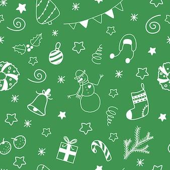 Padrão sem emenda de vetor natal e ano novo com elementos de rabiscos brancos sobre fundo verde