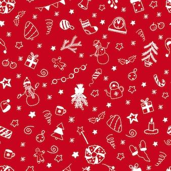 Padrão sem emenda de vetor natal e ano novo com elementos de rabiscos brancos sobre fundo vermelho
