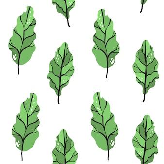 Padrão sem emenda de vetor no estilo doodle. folhas de couve, acelga.