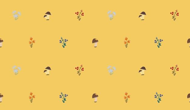 Padrão sem emenda de vetor outono colheita de flores de floresta, cogumelos e bagas