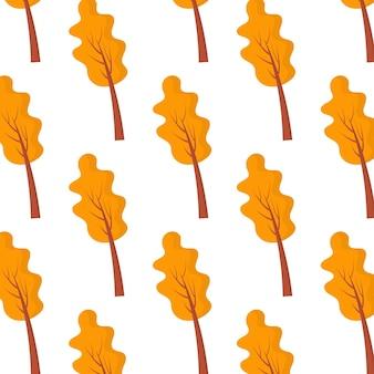Padrão sem emenda de vetor padrão com árvores de outono