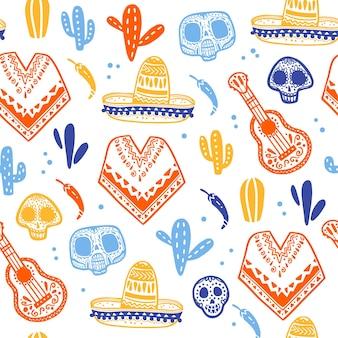 Padrão sem emenda de vetor para a celebração tradicional do méxico - dia de los muertos - com crânio, poncho, cactos, guitarra, sombrero, isolado no fundo branco. bom para design de embalagens, impressão, decoração, web