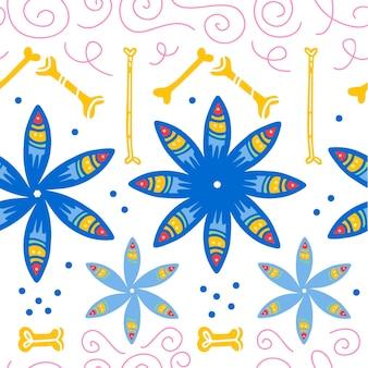 Padrão sem emenda de vetor para a celebração tradicional do méxico - dia de los muertos - com flores azuis, ossos, ornamento floral isolado no fundo branco. bom para design de embalagens, impressão, decoração, web.