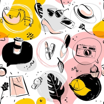 Padrão sem emenda de vetor para tema de moda e compras com acessório feminino, elementos de doodle isolados - sapato, chapéu, batom, óculos de sol, caixa de texto, monstera. perfeito para design de embalagem, anúncio, tag.