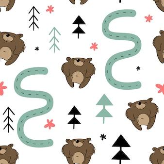 Padrão sem emenda de vetor, urso na floresta.