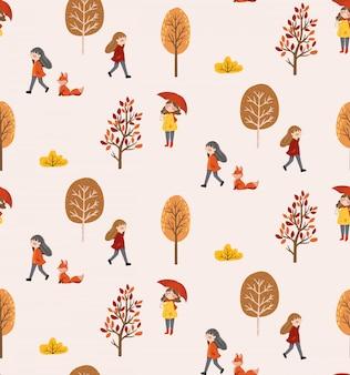 Padrão sem emenda de vida outono