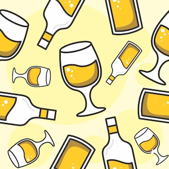 Padrão sem emenda de vidro e garrafa amarelo