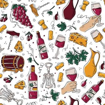 Padrão sem emenda de vinho e queijo em estilo doodle com uvas e garrafas