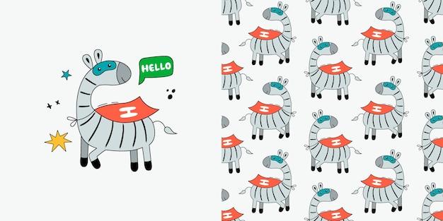 Padrão sem emenda de zebra. doodle com animais selvagens.