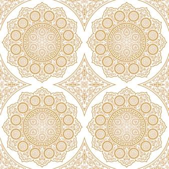 Padrão sem emenda delicado do leste com mandala - ornamento redondo