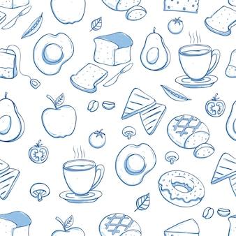 Padrão sem emenda delicioso café da manhã com doodle ou mão desenhada estilo