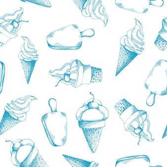 Padrão sem emenda desenhada de giro de mão com diferentes tipos de sorvete.