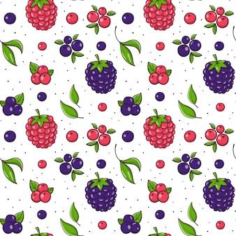 Padrão sem emenda desenhada de mão com blackberry e framboesa.