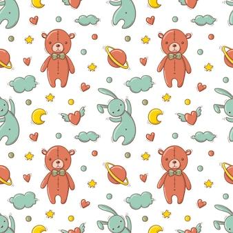 Padrão sem emenda desenhada de mão com brinquedos coloridos de bebê como ursinho de pelúcia e coelho voador.